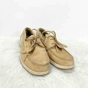 Sperry Tan Leather Sparkle Boat Shoes